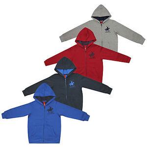 Boys Designer Polo Horse Zip Up Fleece Sweat Top Hoody Sweatshirt Sport Jacket