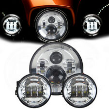 Chrome 7'' Projecteur LED Daymaker Headlight+ 2x 4.5'' Passing Lights For Harley