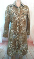THE SPECTATOR Vintage 1970'S Button Down Shirt Dress Leopard Print Long Sleeves