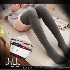Japan lolita liz lisa Fujii LENA lace trim spun knit thigh high socks J1B107