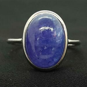 World Class 7.00ctw Tanzanite Cabochon 925 Sterling Silver Ring Size 8 4.6g