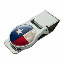 Rustic Texas State Flag Distressed USA Satin Chrome Plated Metal Money Clip