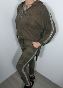 Lounge Wear 2 Pcs Hoodie Joggers Khaki Leopard Print Comfy Stretchy Track Suit