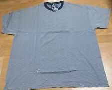Basic Editions Stripe T-Shirt 4XL Big Men 50/50 Cotn/Poly Whit/Navy Vintage