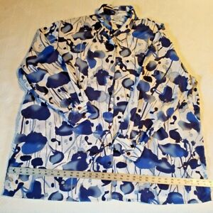 Silhouettes Womens 3X Blue White Floral Long Silky Tunic Blouse Shirt Colorful