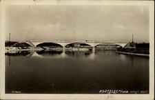 Kostelec nad Labe Tschechien Postkarte ~1930/40 Novy most Neue Brücke Fluss