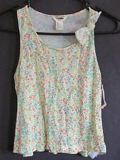 NEW FOREVER 21 GIRLS SIZE XS, S, M LOWER RUFFLE GREEN /YELLOW MULTI FLORAL TOP