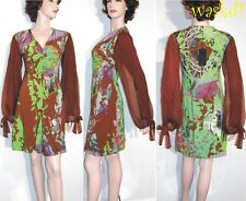 SAVE THE QUEEN brown L Woodland RUCHED bust CHIFFON sleeves dress NWT Authentic!