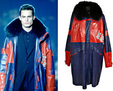ROCK STAR!! $19,693 NEW GIANNI VERSACE LEATHER COAT WITH FOX FUR COLLAR CRYSTALS