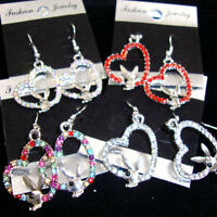 DANGLE HEART EARRINGS W/ SILVER BUNNY/ASSORTED COLOR CRYSTAL STONE