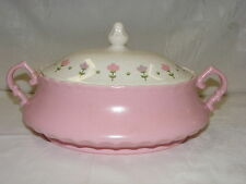 Vintage Metlox China VernonWare Pink Lady 1.25 Quart Oval Covered Casserole Bowl
