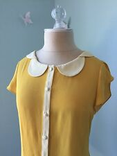 Modcloth Mustard Yellow Peter Pan Collar Blouse Xs