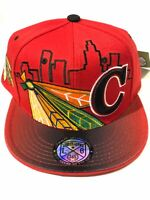Chicago New Leader Feathers Skyline Blackhawks Red Black Era Snapback Hat Cap