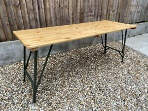 Wooden Folding Trestle Table Rustic Farmhouse Dining Ex Army Bar Cafe Industrial