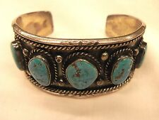 Heavy Vintage Sterling Silver Turquoise Native American Cuff Bracelet 57G 57 Gr