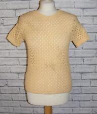 vintage 60s deadstock jumper size 8-10 short sleeve crewneck yellow crochet knit