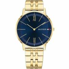 Tommy Hilfiger Mens 'Cooper' Round Blue Dial Gold Plated Bracelet Watch