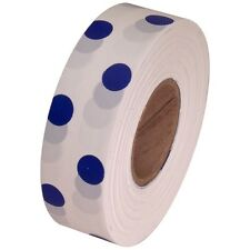 White / Blue Polka Dot Flagging Marking Tape 1 3/16 in x 300 ft Non-Adhesive
