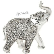 Lucky Trunk Up ELEPHANT Figurine Ornament Silver Filigree Jumbo elephant Gift
