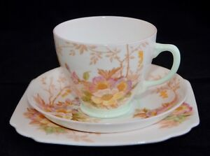 Pretty 1930s OLD ROYAL CHINA Trio 2818 - Pink w Floral, Green Trims (Multi Avai)