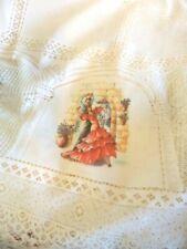 Large Vintage Spanish Flamenco Dancers Oval Tablecloth