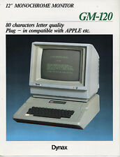 VINTAGE (198X) DATASHEET: DYNAX GM-120 MONOCHROME MONITOR  (APPLE COMPATIBLE)