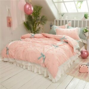 Pink Luxury Princess Style Bedding Set King Queen Linen Duvet Cover Bed Sheet