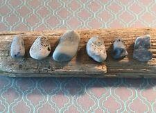 6 Stunning Blue Beach Slag Glass Rocks Pendants Lake Michigan Jewelry Crafts  #2