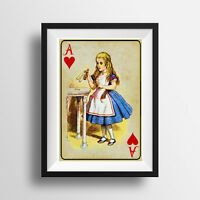 VINTAGE PICTURE PRINT or Greetings Card, Alice in Wonderland, Ace Playing Card