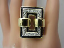 18K Yellow Gold Diamond Black Enamel Fancy Ring 0.56 CT