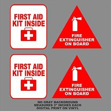 "3"" Fire Extinguisher First Aid Decals Stickers Pack Label Truck Off Road Safety"