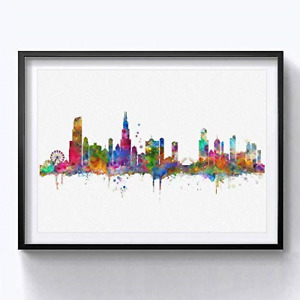 Chicago Skyline City Chicago Watercolor Art Print Chicago Wall Print Poster Home