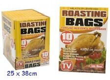 10X LARGE ROASTING BAGS OVEN MICROWAVE COOKING CHICKEN TURKEY FREEZER 25 X 38CM