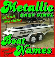 2x BOAT YACHT NAMES - 1000mm ULTRA METALLIC CAST VINYL DECAL STICKER GRAPHICS