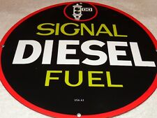 "VINTAGE 1963 SIGNAL DIESEL FUEL 11 3/4"" PORCELAIN METAL GASOLINE SIGN PUMP PLATE"