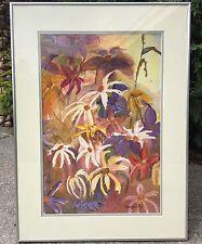 Margareth Fry Canadian Artist Floral Watercolor Framed Original Painting Large