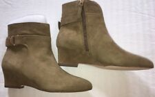 Nine West Booties 9 Jabali Suede Ankle Boot $119 Beige Wedge NEW