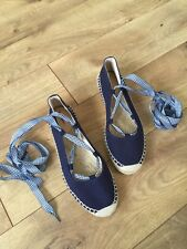 NEW J.Crew Navy Lace Up Gingham Ghillie Canvas Espadrilles Flat Size 8 G1345