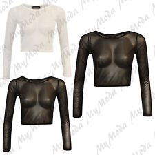 Ladies Mesh Net Sheer Extra Long Sleeve Party Goth Rock Stretch Crop Top White Ml 10-12