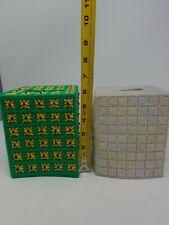 2 Hand Crochet Bathroom Kleenex Tissue Box Topper Cover yellow Flowers (h)