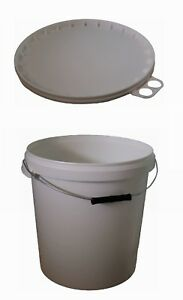 Eimer 15 L (weiß) mit Griff und Deckel (weiß) aus Plastik (neu, rund) *10009*