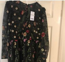 Next Mesh Embroidered Floral Dress Size 18 Petite Range Brand New With Tags