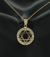 "1/4 Ct Diamond Star of David Religion Pendant 14k Yellow Gold GP 18"" Necklace"