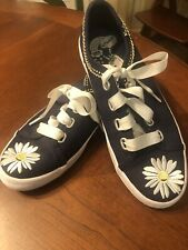 New listing Keds Daisy Pattern and Navy Girls Shoes Size 4 Ribbon Laces