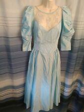 Ilgwu ~ Vintage Blue Satin(?) Formal Party Dress