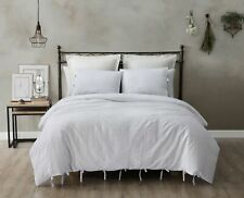 Sterling Creek 3-Piece Solid White Washed 45% Cotton 55% Linen Duvet Cover Set