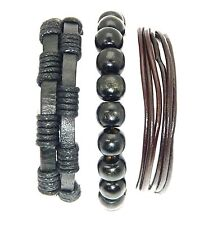 Set Of 3 Bead Cord Leather Surf Surfer Style Bracelets Wristbands Surfer Gothic