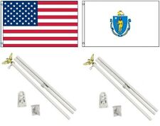 3x5 Usa American & State of Massachusetts Flag & 2 White Pole Kit Sets 3'x5'