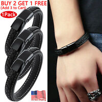 Men's Braided Real Leather Magnetic Steel Clasp Bangle Cuff Wristband Bracelet