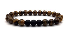 Men's Ladies Shamballa Yoga Healing Bracelet With Lava Bead Tiger Eye Stones